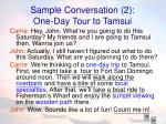 sample conversation 2 one day tour to tamsui