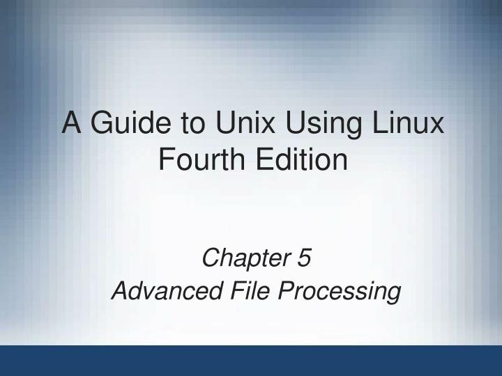 a guide to unix using linux fourth edition n.