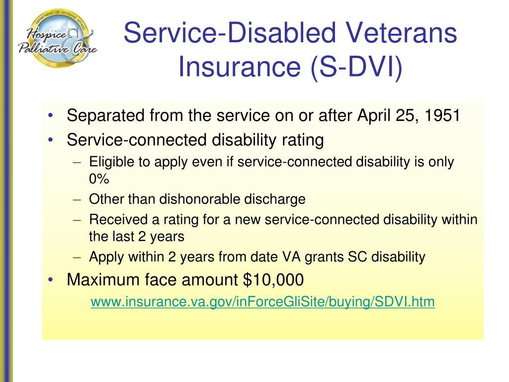 Service-Disabled Veterans Insurance (S-DVI)