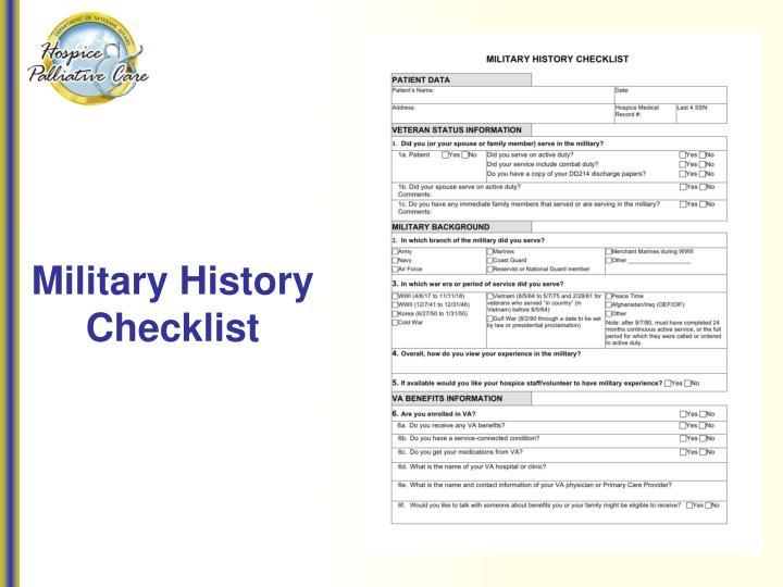 Military History Checklist