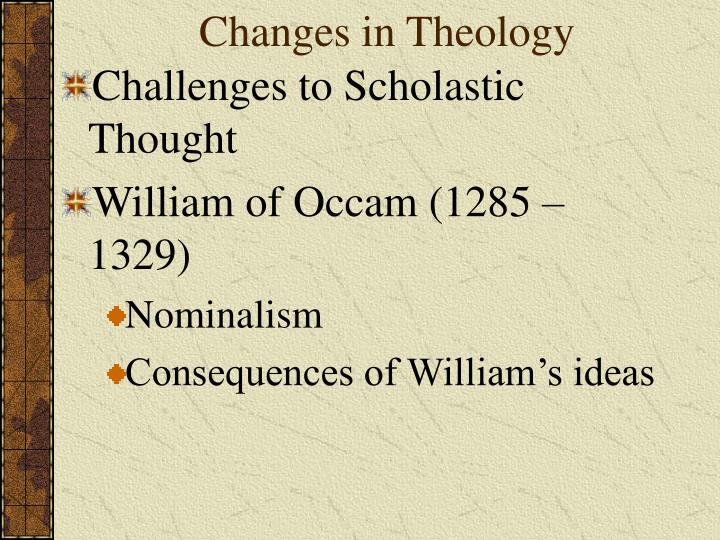 Changes in Theology