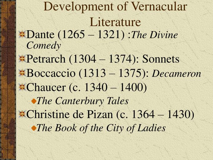 Development of Vernacular Literature