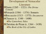 development of vernacular literature