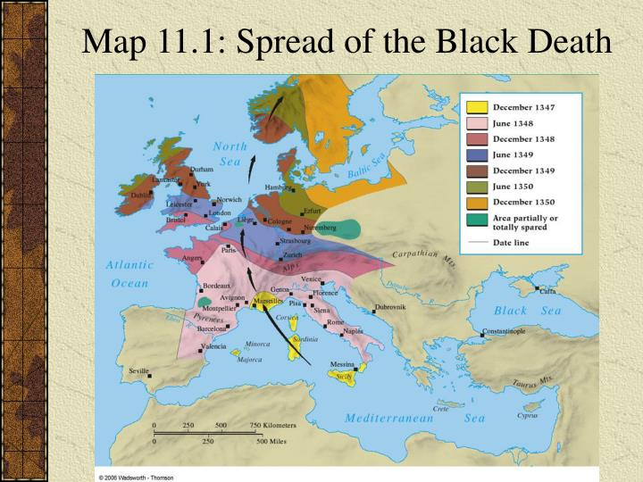 Map 11.1: Spread of the Black Death
