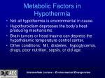 metabolic factors in hypothermia