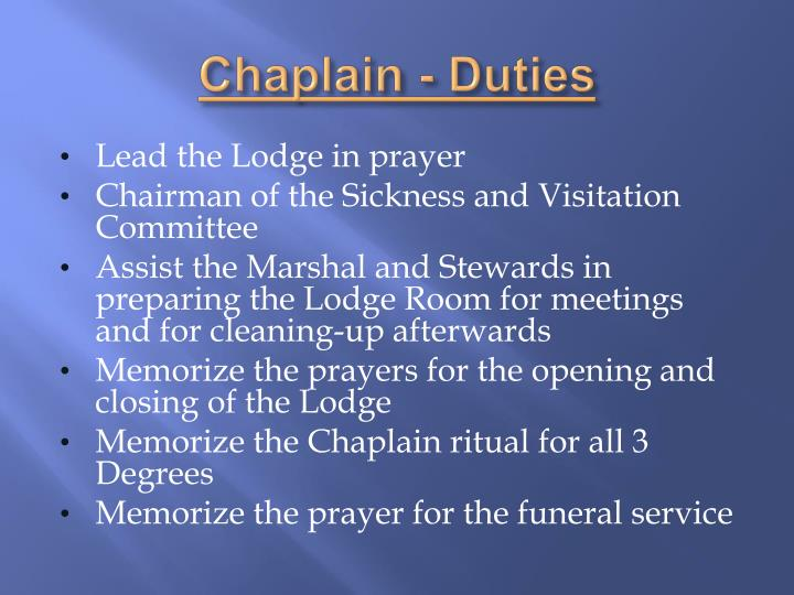 Chaplain - Duties