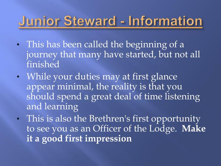 Junior Steward - Information