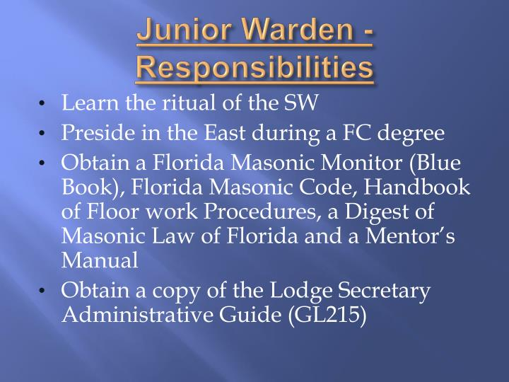 Junior Warden - Responsibilities