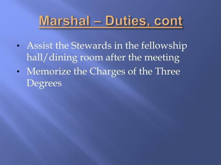 Marshal – Duties,