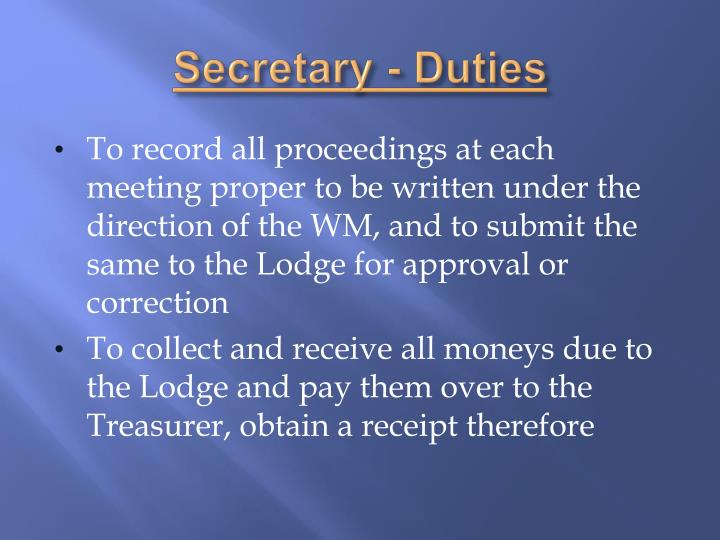 Secretary - Duties