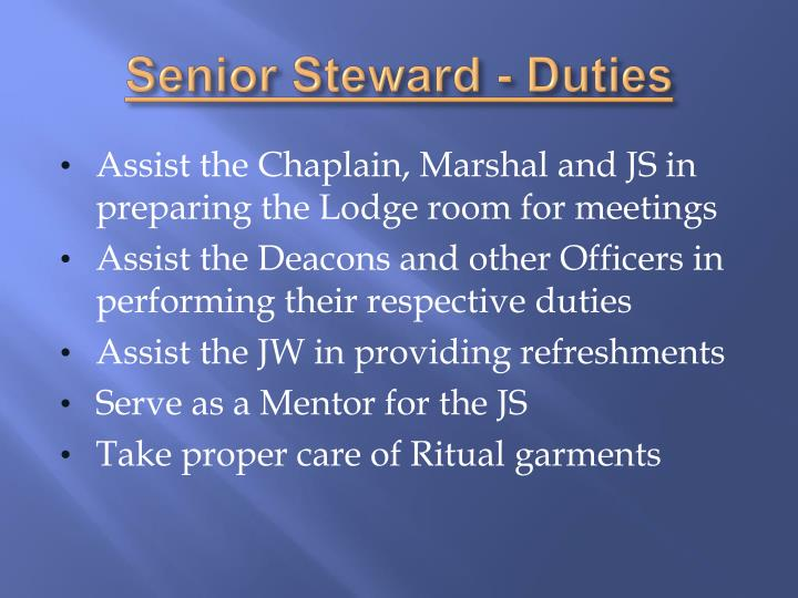 Senior Steward - Duties