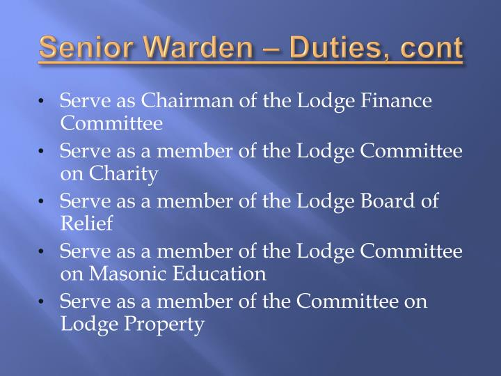 Senior Warden – Duties,