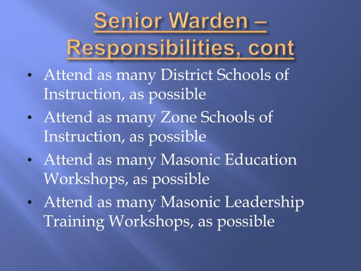 Senior Warden – Responsibilities,
