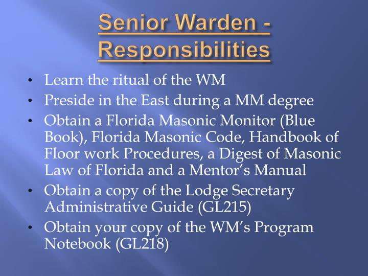 Senior Warden - Responsibilities