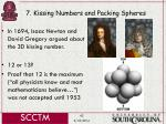 7 kissing numbers and packing spheres42