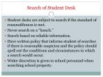 search of student desk