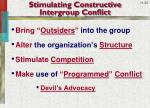 stimulating constructive intergroup conflict