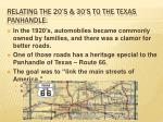 relating the 20 s 30 s to the texas panhandle