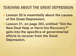 teaching about the great depression