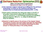 emittance reduction optimization iii