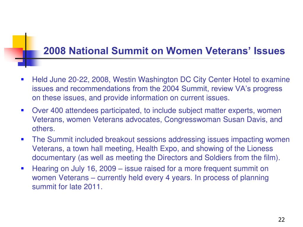 2008 National Summit on Women Veterans' Issues
