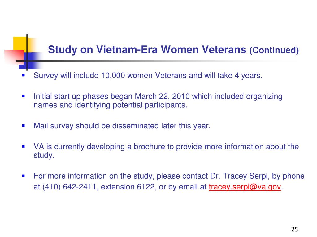 Study on Vietnam-Era Women Veterans