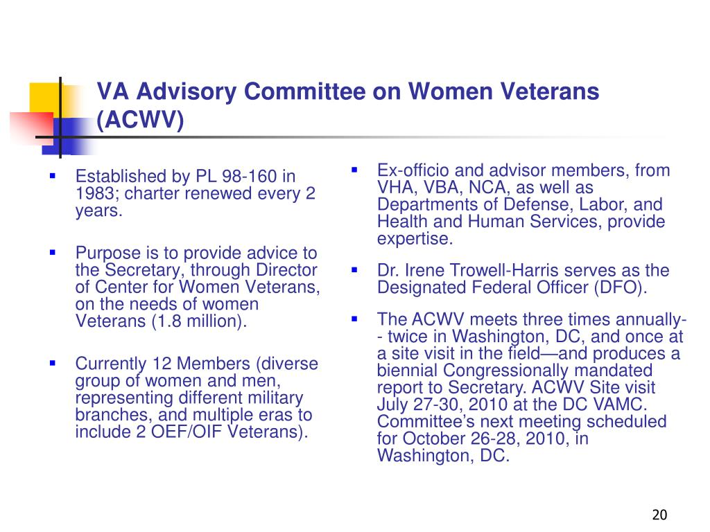 VA Advisory Committee on Women Veterans (ACWV)