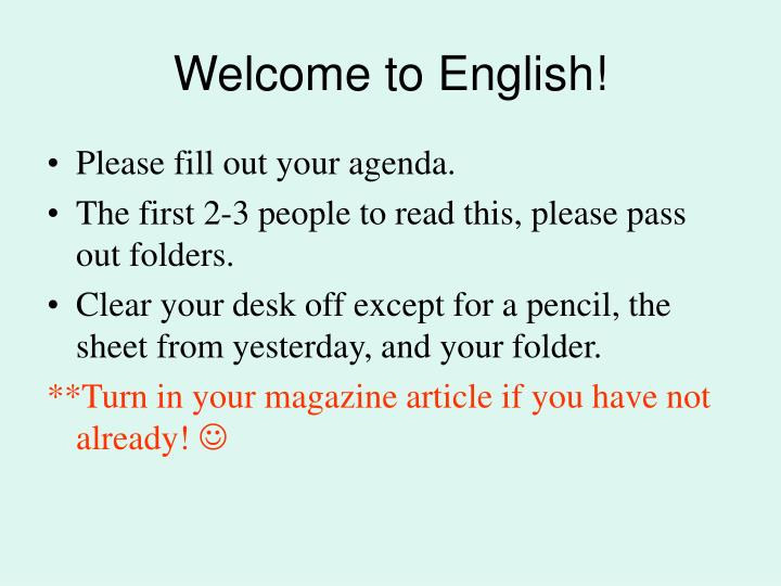 welcome to english n.