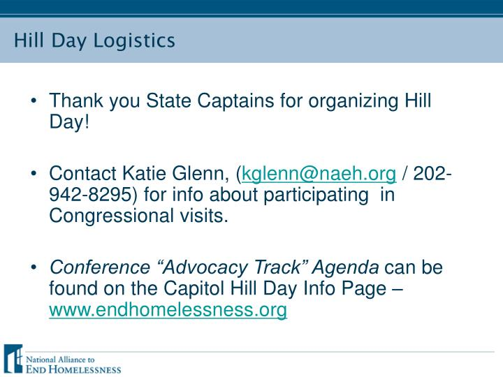 Hill day logistics