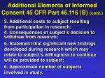 additional elements of informed consent 45 cfr part 46 116 b cont