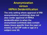 anonymization versus hipaa deidentification