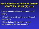 basic elements of informed consent 45 cfr part 46 116 a cont