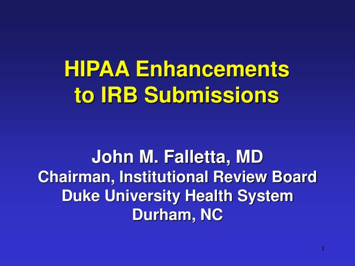 hipaa enhancements to irb submissions n.