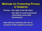 methods for protecting privacy of subjects