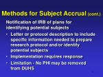 methods for subject accrual cont