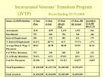 incarcerated veterans transition program ivtp period ending 03 31 2006