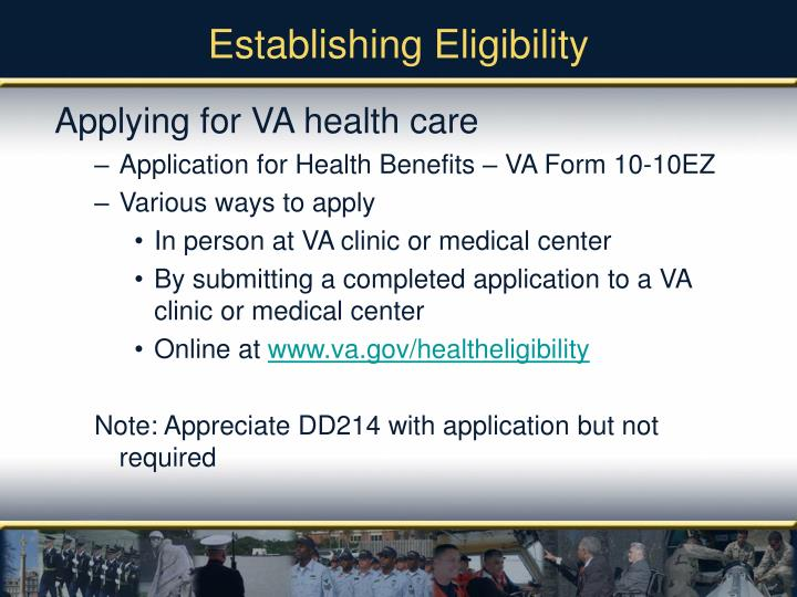 Establishing eligibility