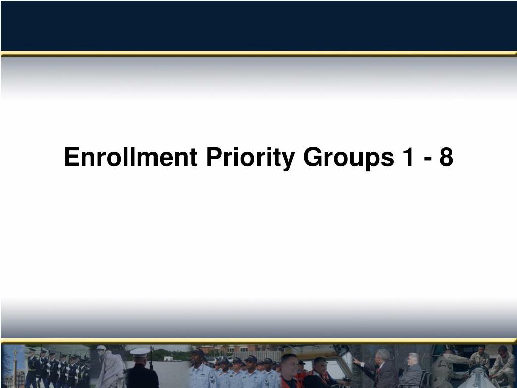Enrollment Priority Groups 1 - 8