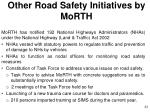 other road safety initiatives by morth