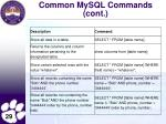 common mysql commands cont