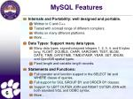 mysql features