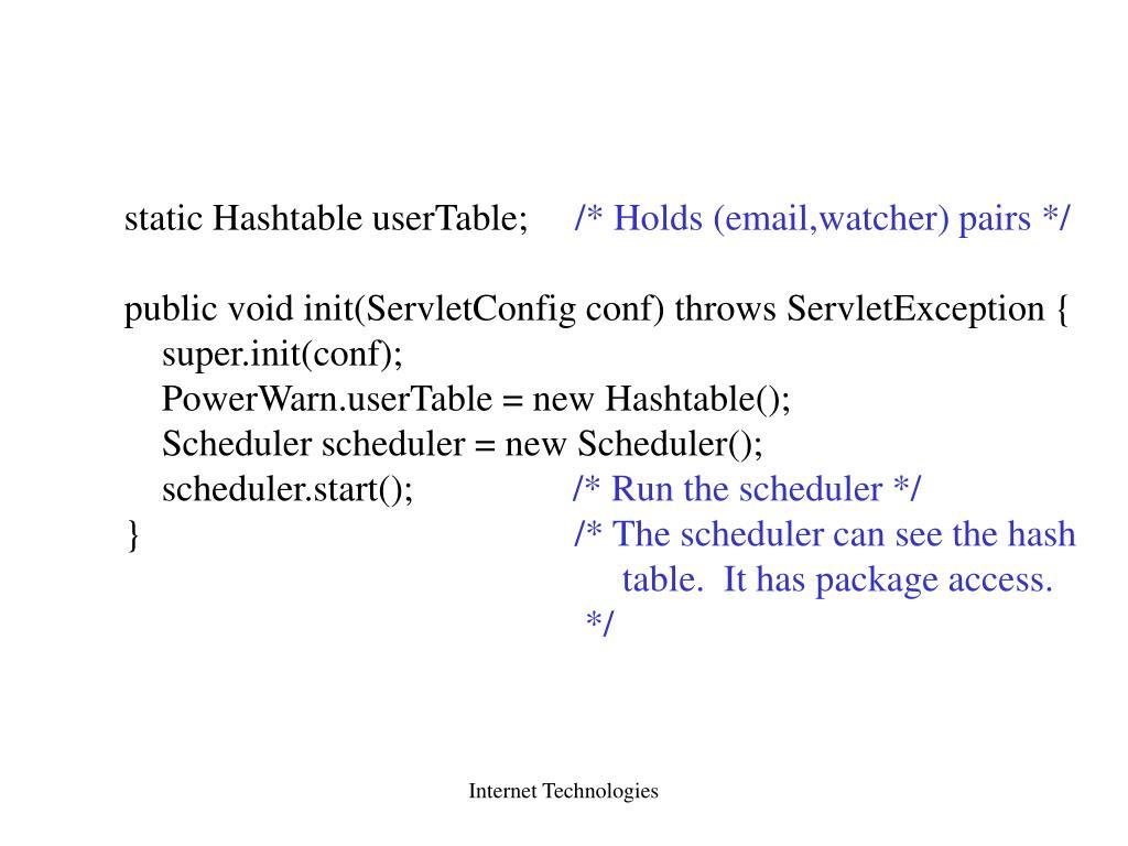 static Hashtable userTable;