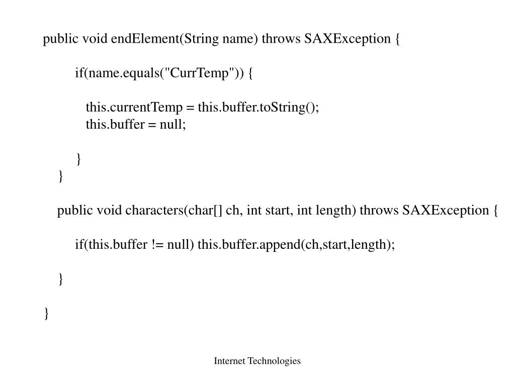 public void endElement(String name) throws SAXException {