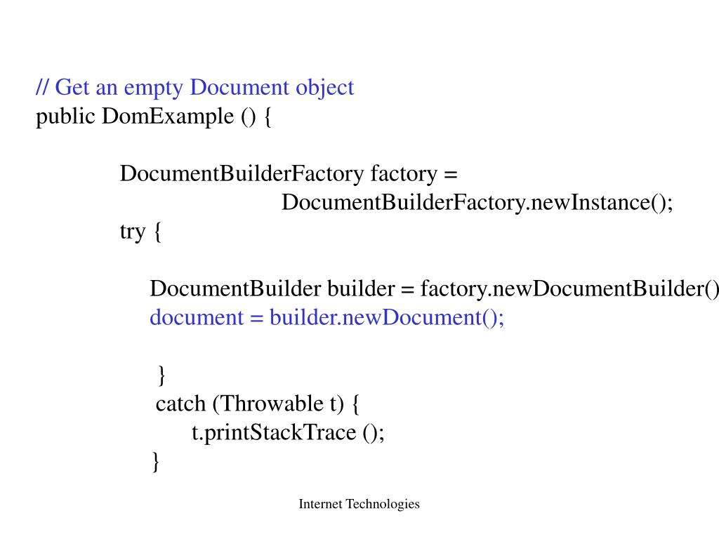 // Get an empty Document object
