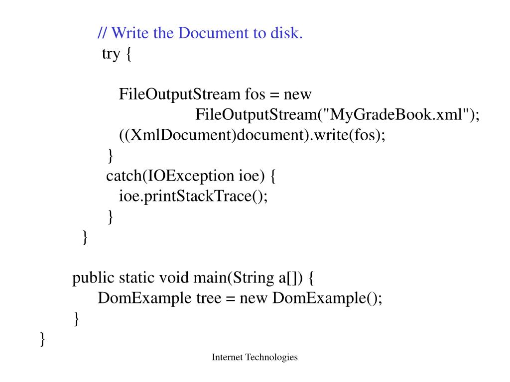 // Write the Document to disk.