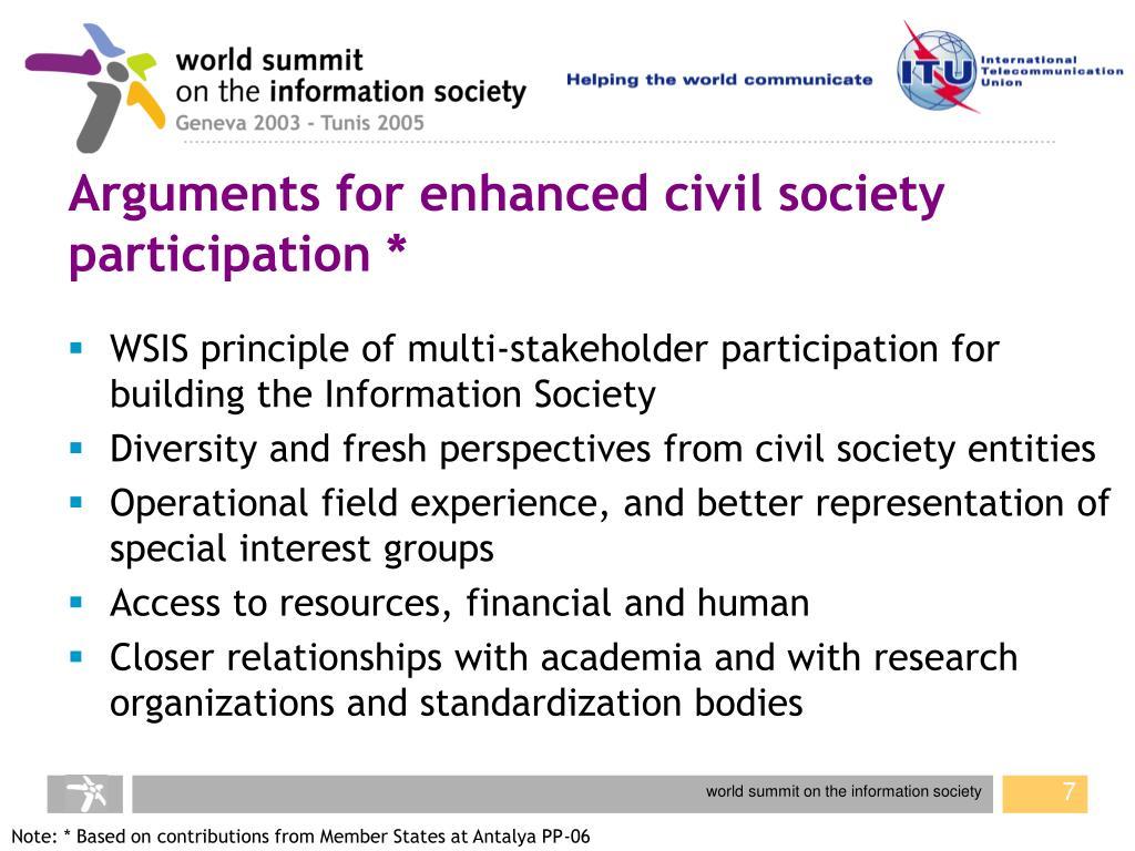 Arguments for enhanced civil society participation *