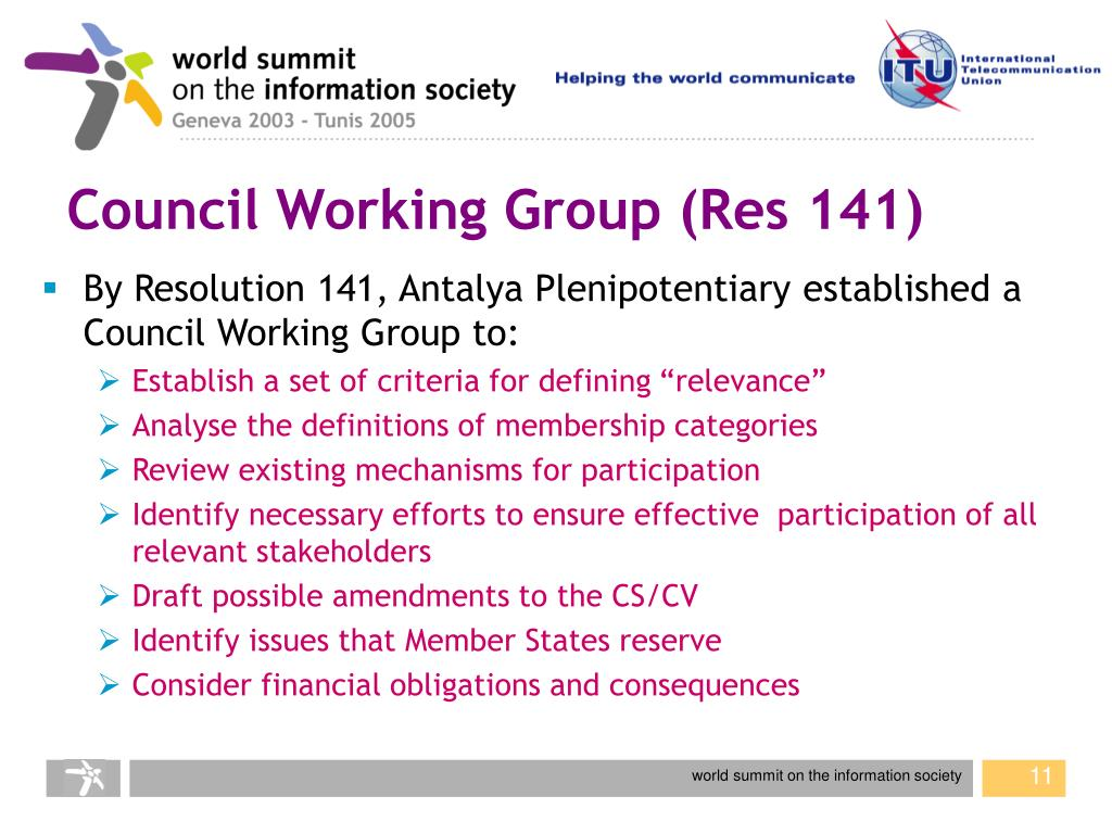 Council Working Group (Res 141)