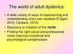 the world of adult dyslexics