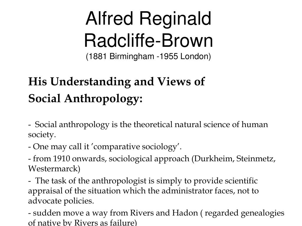alfred reginald radcliffe brown 1881 birmingham 1955 london l.