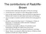 the contributions of radcliffe brown